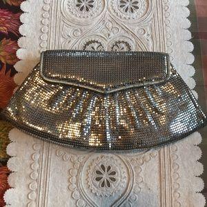 Whiting and Davis Silver Metallic Mesh Clutch
